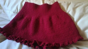 Example of Small sized Burgundy Crocheted skirt.