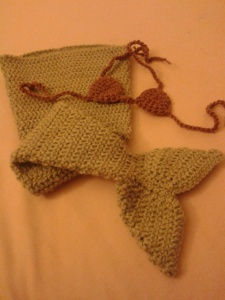 Example of a 6 Months Light Green Mermaid tail with Brown bikini top.